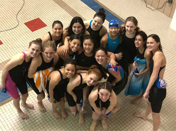 Montclair HS swim teams celebrate their success so far this season as they gear up for Essex County meet