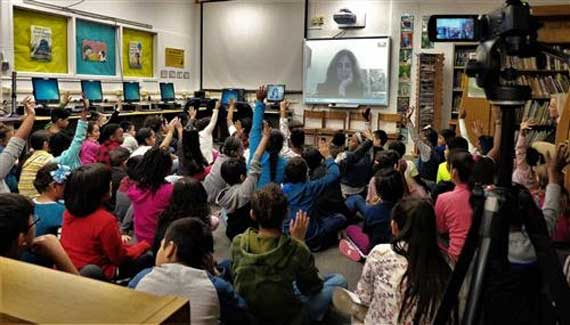 Washington students Skype with popular Scholastic children's author